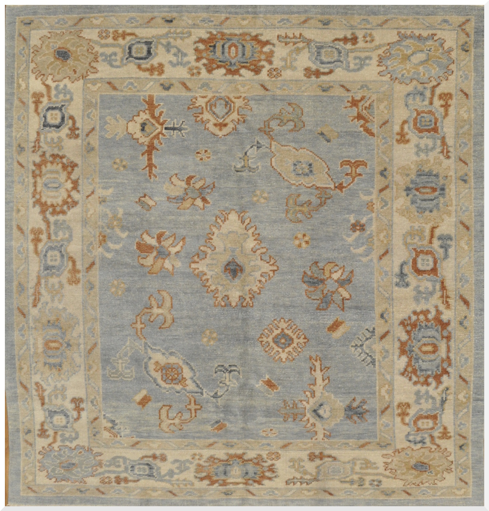 10x10 Square New Oushak Oriental Wool Area Rug: New Square Oushak Rug