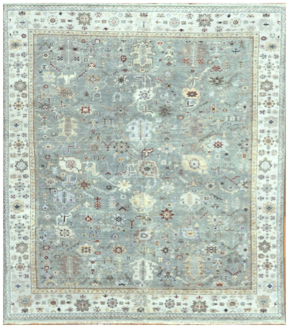 New Hand Knotted 8x10 Wool Green Ivory Brown Red Oushak Rug In Atlanta Surena Rugs