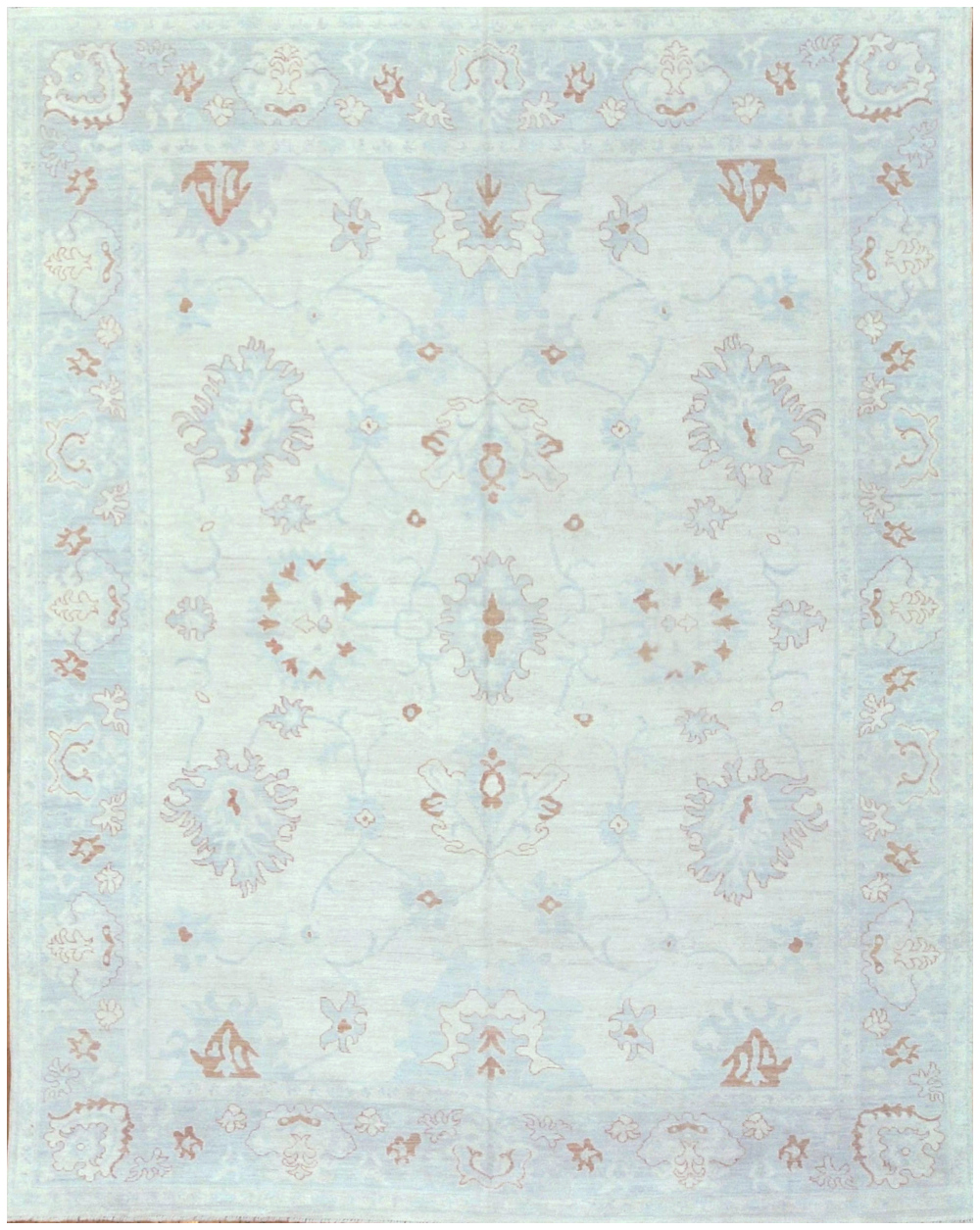 New Hand Knotted 9x12 Wool Blue Ivory Red Gray Oushak Rug In Atlanta Surena Rugs
